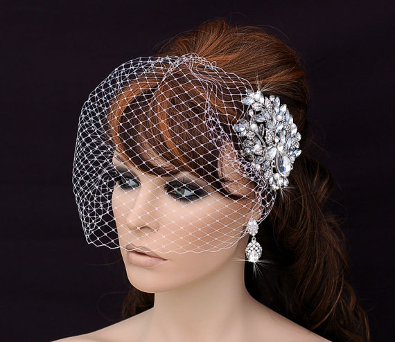 Свадьба - Crystal Comb and Birdcage Veil , Bird Cage Veil , Bridal Comb ,  Wedding Comb , Bachelorette Blusher , Bridal Hair Accessory , Cryst
