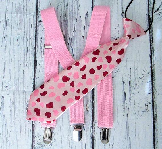 Свадьба - Valentine Necktie Suspender Outfit Pink Hearts Baby boy girl necktie toddler necktie photo photo