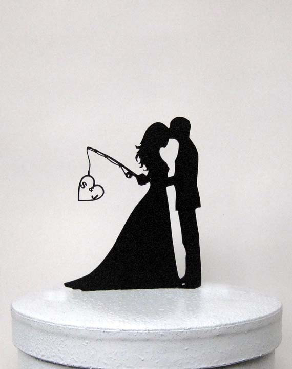Hochzeit - Personalized Wedding Cake Topper - Hooked on Love with personalized Initials