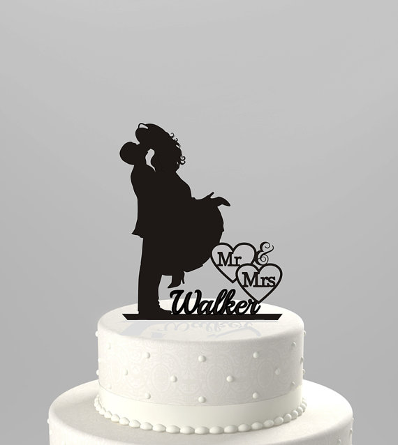 Wedding Cake Topper Silhouette Couple Mr Mrs Personalized With Last Name Acrylic CT4t
