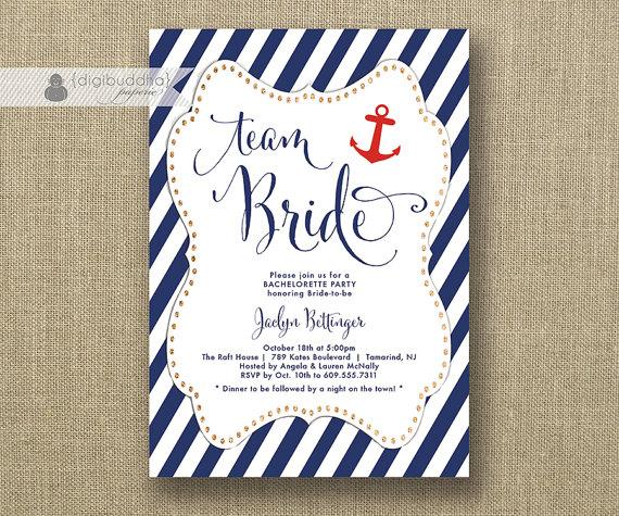 Team Bride Bachelorette Party Invitation Navy Red Anchor Gold