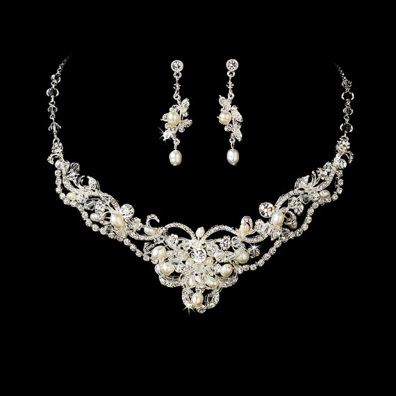 Mariage - Bridal Jewelry Set Crystal and Pearl