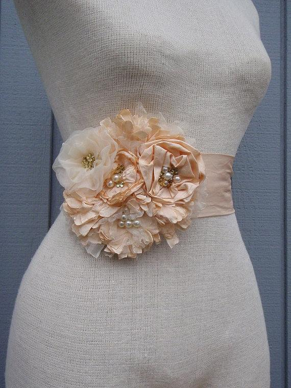 Hochzeit - READY TO SHIP wedding  Bridal Sash With   Unique Design Flower peach color