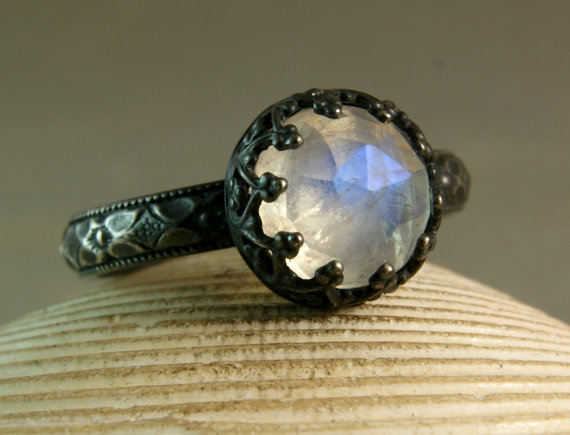 a71d0964296 Faceted Moonstone Ring, Engagement Ring, Oxidized Silver, Blue ...