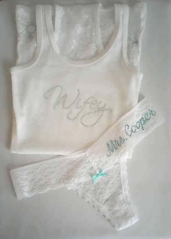 Mariage - Boudoir Set: Wifey Lace Tank Set w/ Customized Thong - White Lace Lounge Set - Future Last Name