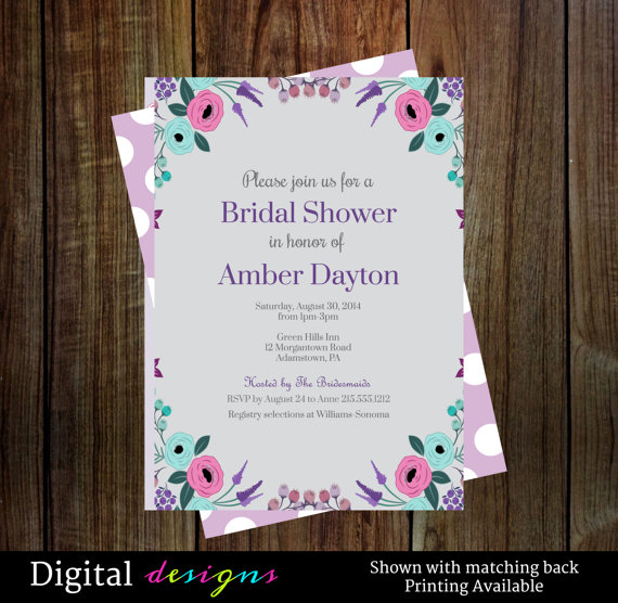 Hochzeit - Rustic bridal shower invitations- cottage chic purple and aqua watercolor flower wedding shower printable file