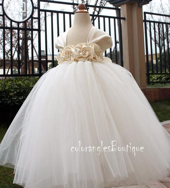 Свадьба - Flower girl dress cap sleeves chiffton roses flower girl dress 1T 2T 3T 4T 5T 6T 7T 8T 9T