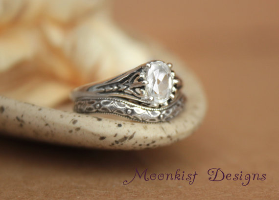 Filigree Engagement Ring Set With Fitted Wedding Band Featuring
