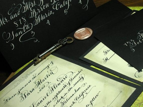 """Свадьба - Wedding Invitation Gothic Bird Vintage Calligraphy, Love No. 24 """"Ravenclaw"""""""