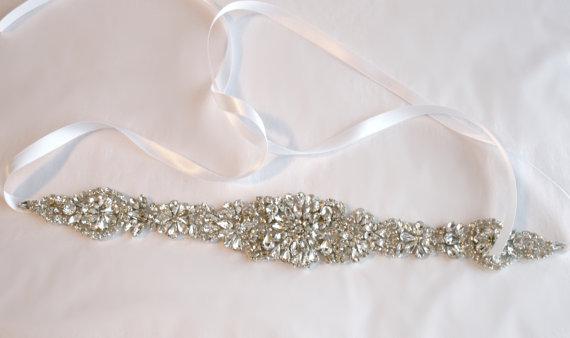 Hochzeit - Bridal Sash, Rhinestone Sash, PEYTON, Bridal Belt, Wedding Sash, wedding Belt, ribbon, bridal