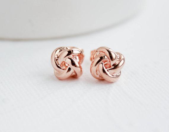 Hochzeit - Rose Gold Knot Earrings, Knot Earrings, Rose Gold Studs, Bridal Earrings, Rose Gold Earrings, Everyday Earrings, Bridesmaid Earrings