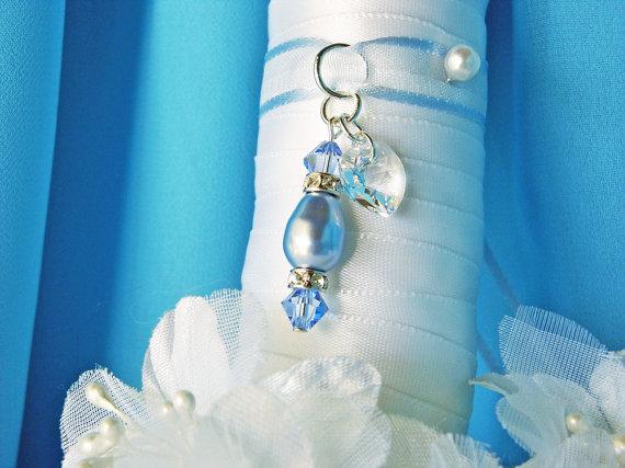 Mariage - Something Blue Wedding Bouquet Charm Swarovski Crystals Pearls Bridal Gift