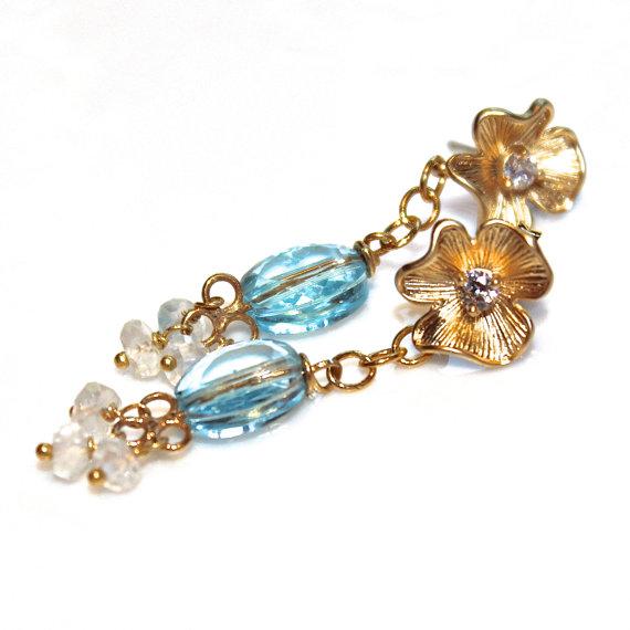 Hochzeit - Swiss Blue Topaz Earrings Topaz Jewelry Gold Flower Earring Bridal Earrings Gemstone Jewelry Delicate Earrings Chandelier Earrings FizzCandy