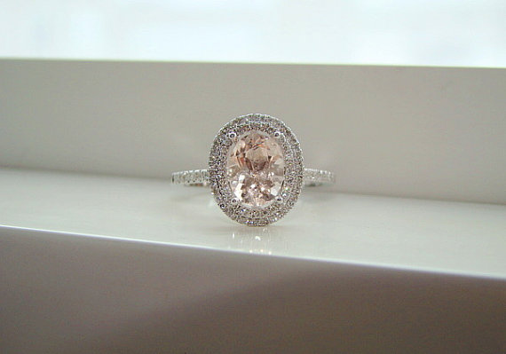 Oval Halo Peach Morganite Diamond Ring Gemstone Engagement Ring Wedding Pink
