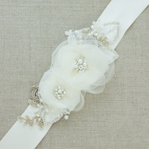 Floral belt floral sash bridal belt bridal sash wedding for Ivory wedding dress belt