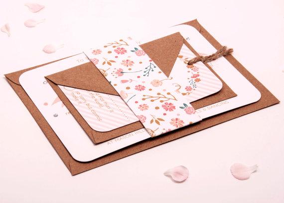 Mariage - Wedding invitation bundle - peach pink coral gold kraft floral