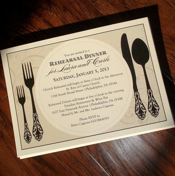 Wedding - Rehearsal Dinner Invitation - Custom Wording & Colors