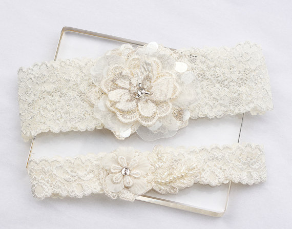 Wedding - Ivory Lace Garter Set - Wedding Bridal Garter Set, Garter Set, Wedding Garter Belt, Bridal Garters, Ivory Garter Set