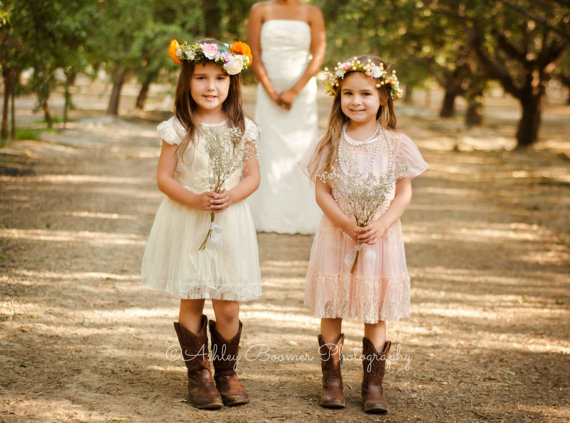 Pink Toddler Girls Lace Dress Vintage Dusty Flower Girl Rustic Wedding Birthday Beach