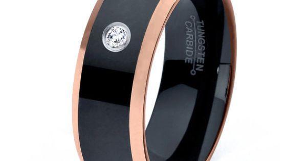 Black Tungsten Ring 18k Rose Gold Black Band Black Wedding Bands