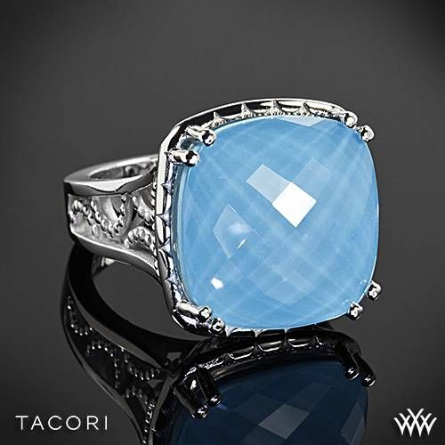 Wedding - Tacori SR13205 Barbados Blue Clear Quartz Over Neolite Turquoise Ring In Sterling Silver With 18k Yellow Gold Accents