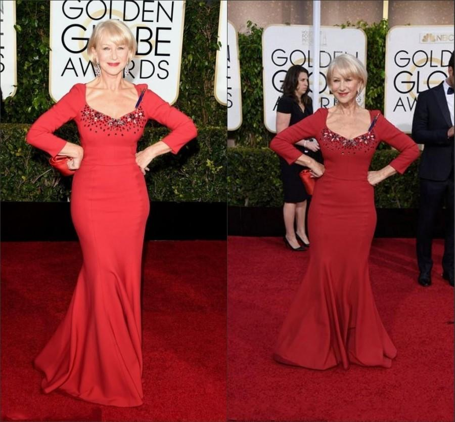 Mariage - The 72th Red Carpet Celebrity Dresses Satin Scoop Long Sleeves Beaded Long Mermaid Annual Golden Globe Awards Evening Dress 2015 Party Ball, $100.79