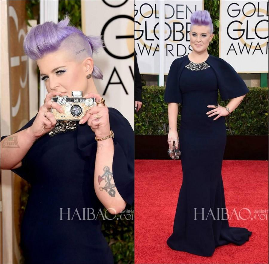 Kelly Osbourne Evening Dresses 72th Annual Golden Globe Awards Red Carpet Celebrity Navy Beaded Short Sleeves Mermaid Gowns Party 9676