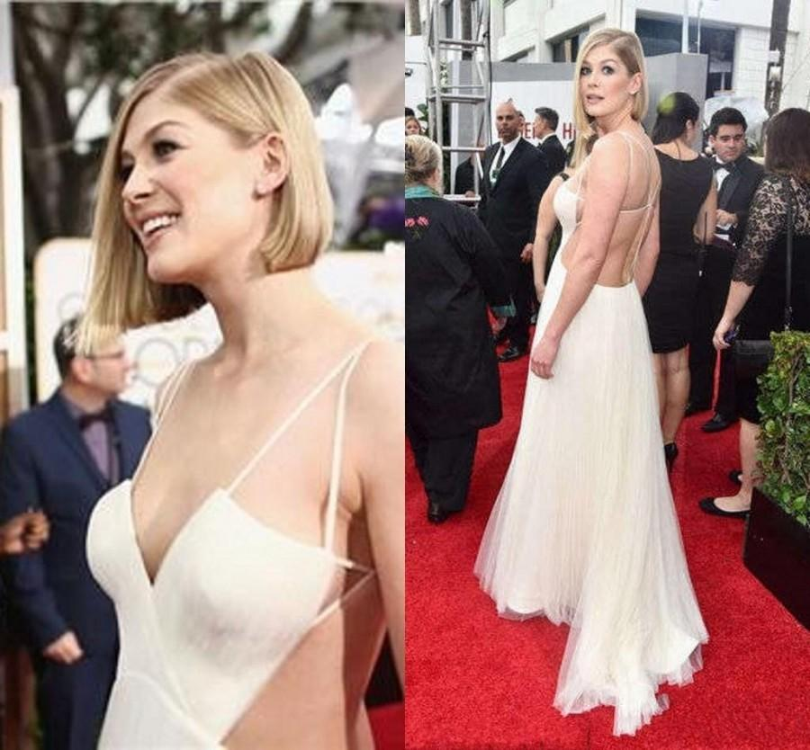 Mariage - 2015 New Arrival Rosamund Pike Evening Dresses Backless Straps Celebrity Red Carpet Dresses 72th Golden Globe Award Backless Party Ball, $80.63