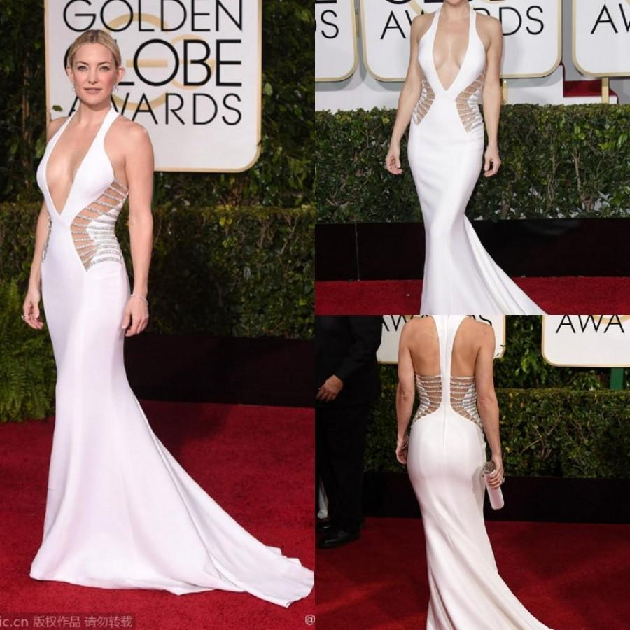 Kate Hudson 72th Golden Globes White Evening Celebrity Dress Deep ...