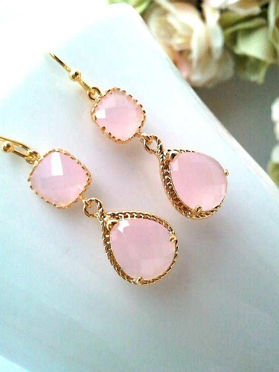Mariage - Blush Pink Earrings ,Pink Opal Gold Wedding Earrings, Dangle earrings,Wedding Jewelry, Bridesmaid Bridal Jewelry, Bridesmaid Bridal Gift