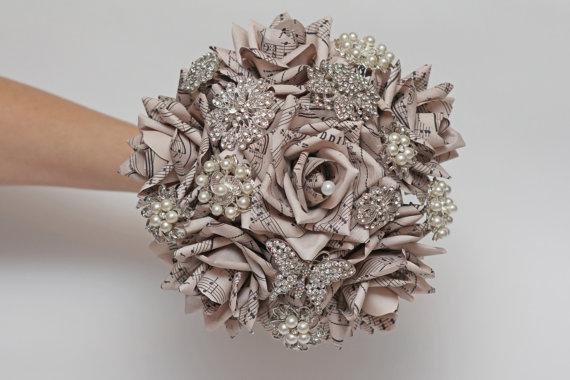 Mariage - brooch bouquet, wedding bouquet, paper flower bouquet, wedding flowers, note paper bouquet, vintage bouquet, brooch wedding