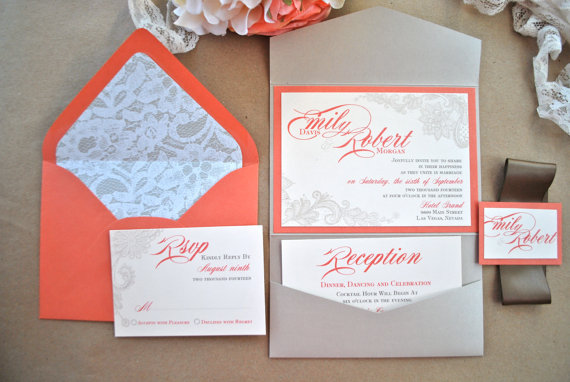 Wedding - Orange and Champagne Wedding Invitation