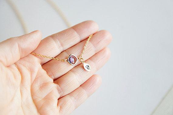 زفاف - Personalized Glass Amethyst Bead Bracelet Anklet, Diamond Cut Chain, Minimalist, Bridal Jewelry, Wedding, Birthday, Hand Stamped Leaf Charm