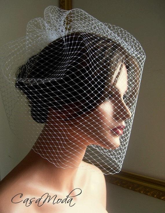 زفاف - Wedding Veil Full Birdcage Veil in White Color 18 Inches