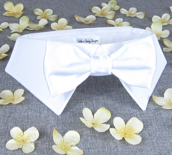 White Satin Wedding Dog Collar Bowtie Clothes Ring Bearer Tuxedo Pets