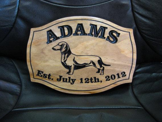 زفاف - Personalized Dachshund Dog Sign Weiner Dog Wedding Gift Weenie Theme Decor Custom Dog Anniversary Date Gift Pet Lover Present Idea