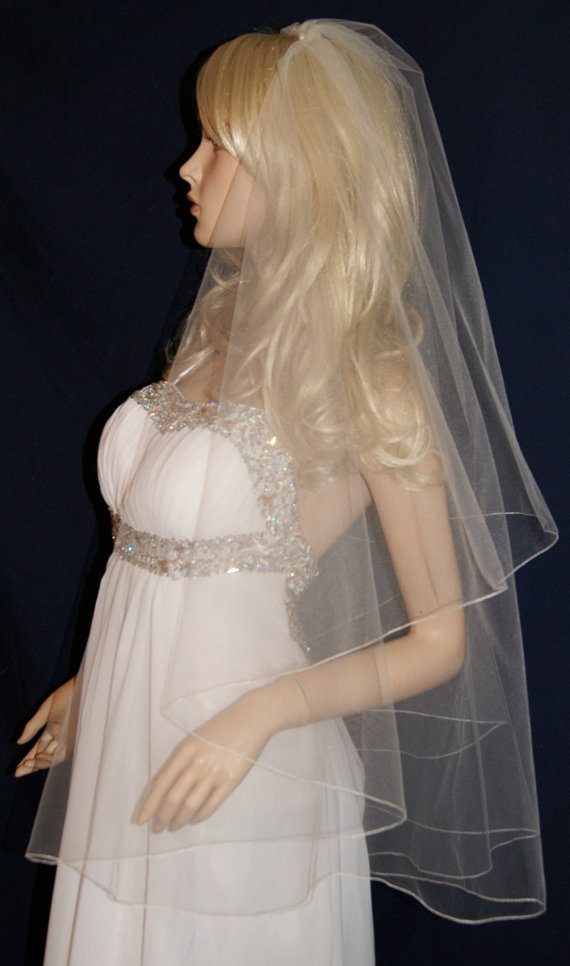 """Mariage - Wedding Veil Center Gathered Fingertip Black Purple Red Beige White Ivory Pink 2 tiers 24"""" 40"""" Length Pencil Edge  15 Color choices"""