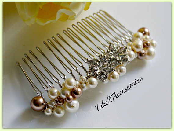 Свадьба - Wedding Pearl Hair Comb Bridal Comb Wedding Hair Piece Swarovski White Ivory Pearl Beaded Silver Comb Veil Attachment Comb Pearl Hair Comb