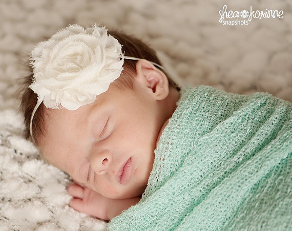 Baby Headbands - Newborn Headband - Ivory Shabby Chic Chiffon Rosette Skinny  Headband - Photography Prop Wedding Flower Girl e005182b995