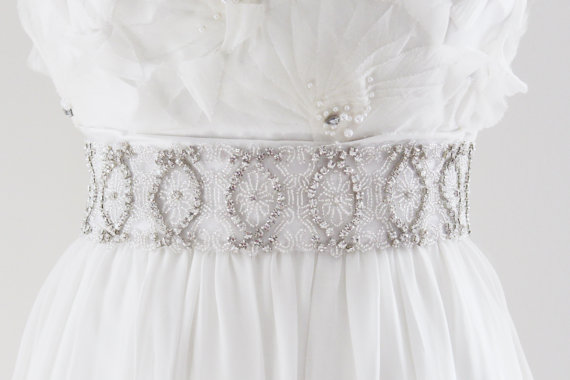Mariage - SAVANNAH - Rhinestone Beaded Bridal Sash, Wedding Belt