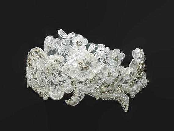 Wedding - Bridal Headband, Rhinestone Wedding Headpiece, Wedding Hair Accessory, White Lace Headband, Wedding Headband,Beaded Headband