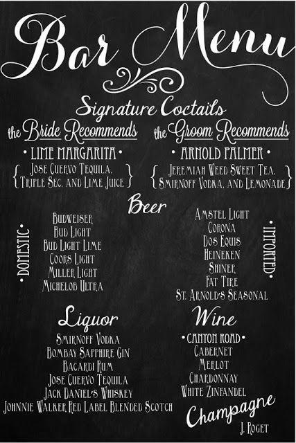 "Свадьба - Wedding Bar Menu Chalkboard Sign • Personalized Wedding Menu • (24"" X 36"")"