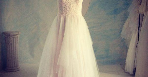 Simply Blush Lace Tulle Wedding Gown Sweetheart A Line Tutu Gown