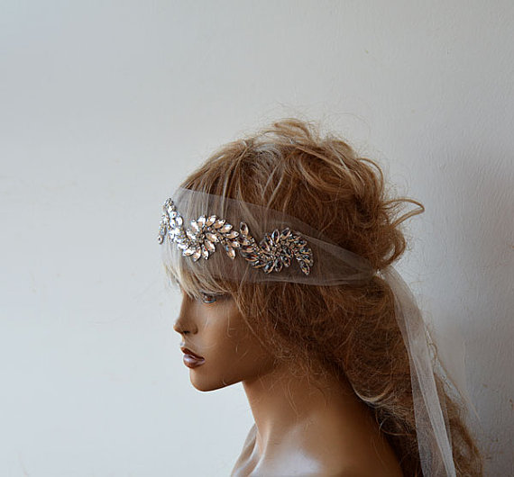 Wedding Hairstyles With Headband And Veil: Bridal Headband, Wedding Rhinestone Headband, Wedding Veil