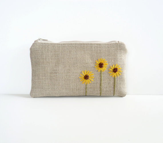Sunflower Burlap Clutch