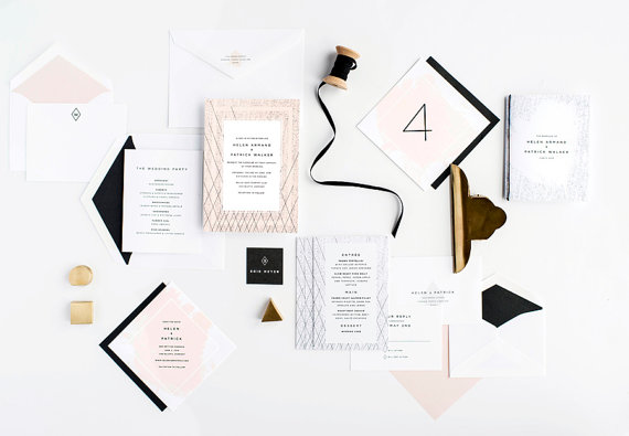 Wedding - Modern Wedding Invitation, Artsy Wedding Invitation, Unique Wedding Invitation, Wedding Invitation Suite, Black and White, Edgy Invitation