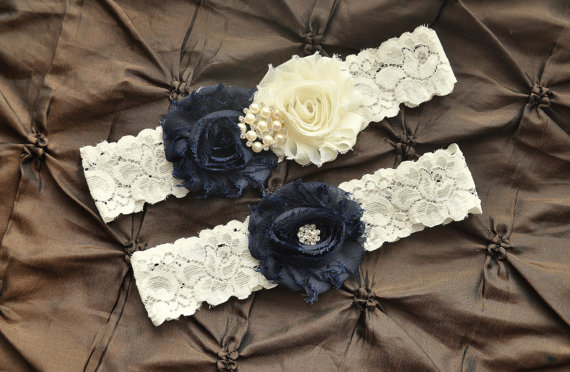 Wedding - Wedding Garter Belt, Bridal Garter Set - Ivory Lace Garter, Keepsake Garter, Toss Garter, Shabby Chiffon Ivory Navy Blue, Something Blue
