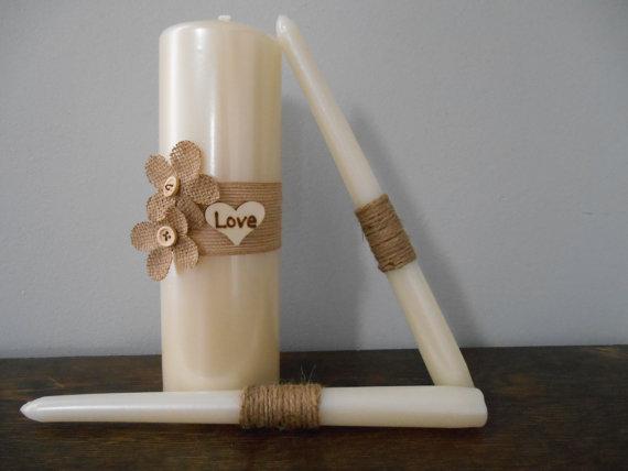 Wedding - Rustic Wedding Unity Candle Set Ivory or White Burlap and Twine Personalized Burlap Flowers