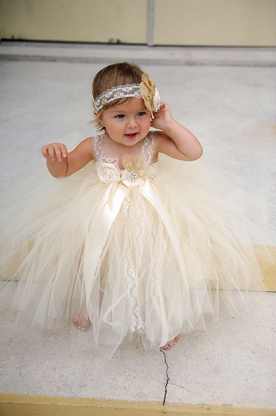 Flower Girl Dress Ivory Flower Girl Dress Lace Flower Girl Dress ...