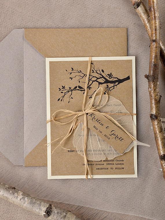 زفاف - Custom listing (20) Rustic Wedding Invitation, Recycling Paper,Tree Wedding Invitation, Garden wedding invitation, Birds in love invitation